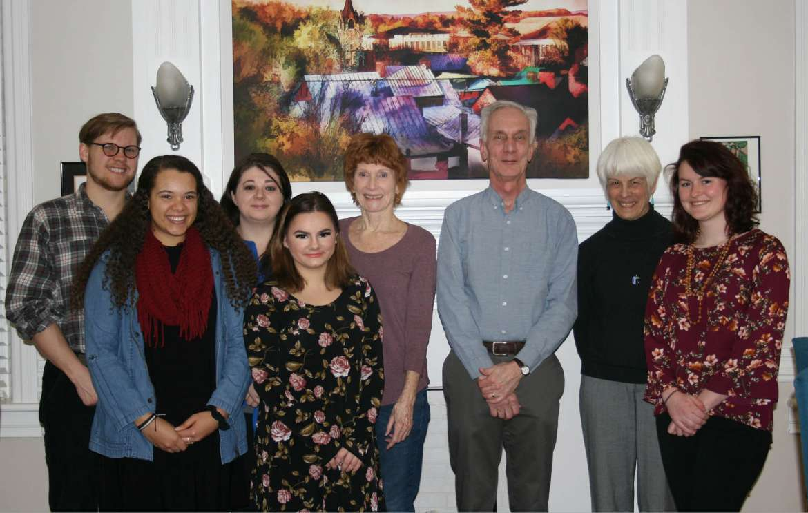 Pictured, (l. to r.) are Alexander Jones, English major, Hagerstown, Maryland; Aneyla Dozier, English education major Martinsburg; Jessica Braner, history major, Hedgesville; Allison Wharton, history major, Charles Town; Rebecca Ayraud, dinner host; Stephen Ayraud, dinner host; Carolyn Rodis, dinner guest; and Abigail Cleary, biology major, Fairplay, Maryland.