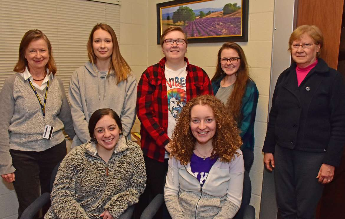 Shepherd University psychology students are teaching weekly mindfulness lessons to kindergarten students at Shepherdstown Elementary School. Pictured seated (l. to r.) are Taylor Carroll, Kearneysville; and Lacey Emry, Winchester, Virginia, standing, Dr. Anne Murtagh, associate professor of psychology; Alaina Hilditch, Falling Waters; Katlyn Brantner, Augusta; Samantha Keplinger, Augusta; and Suzanne Offutt, retired principal of Shepherdstown Elementary School.