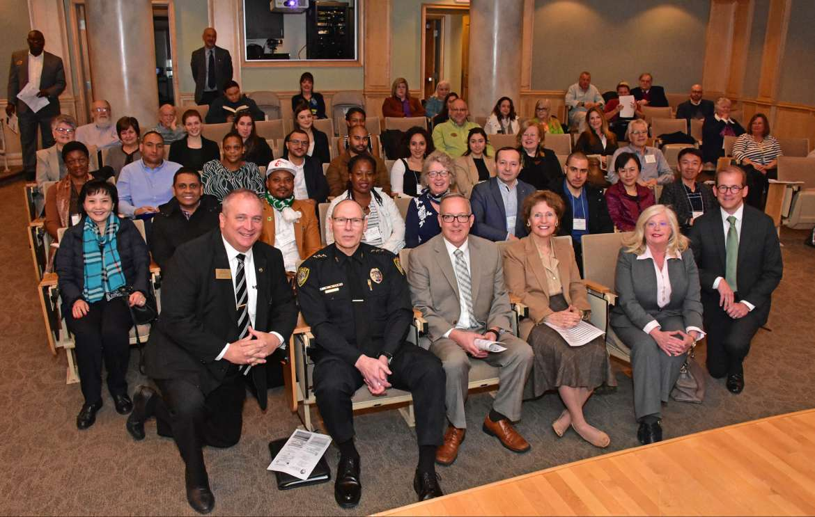 Pictured in the front row are (l. to r.) Kevin Knowles, director, Berkeley County Recovery Resource Center; Maury Richards, Martinsburg chief of police; John McAvoy, Shepherd police chief; Dr. Mary J.C. Hendrix, Shepherd president; Kimberly Havenner, international visitor exchange specialist, Office of International Visitors, U.S. Department of State; and Dr. Scott Beard, Shepherd provost.