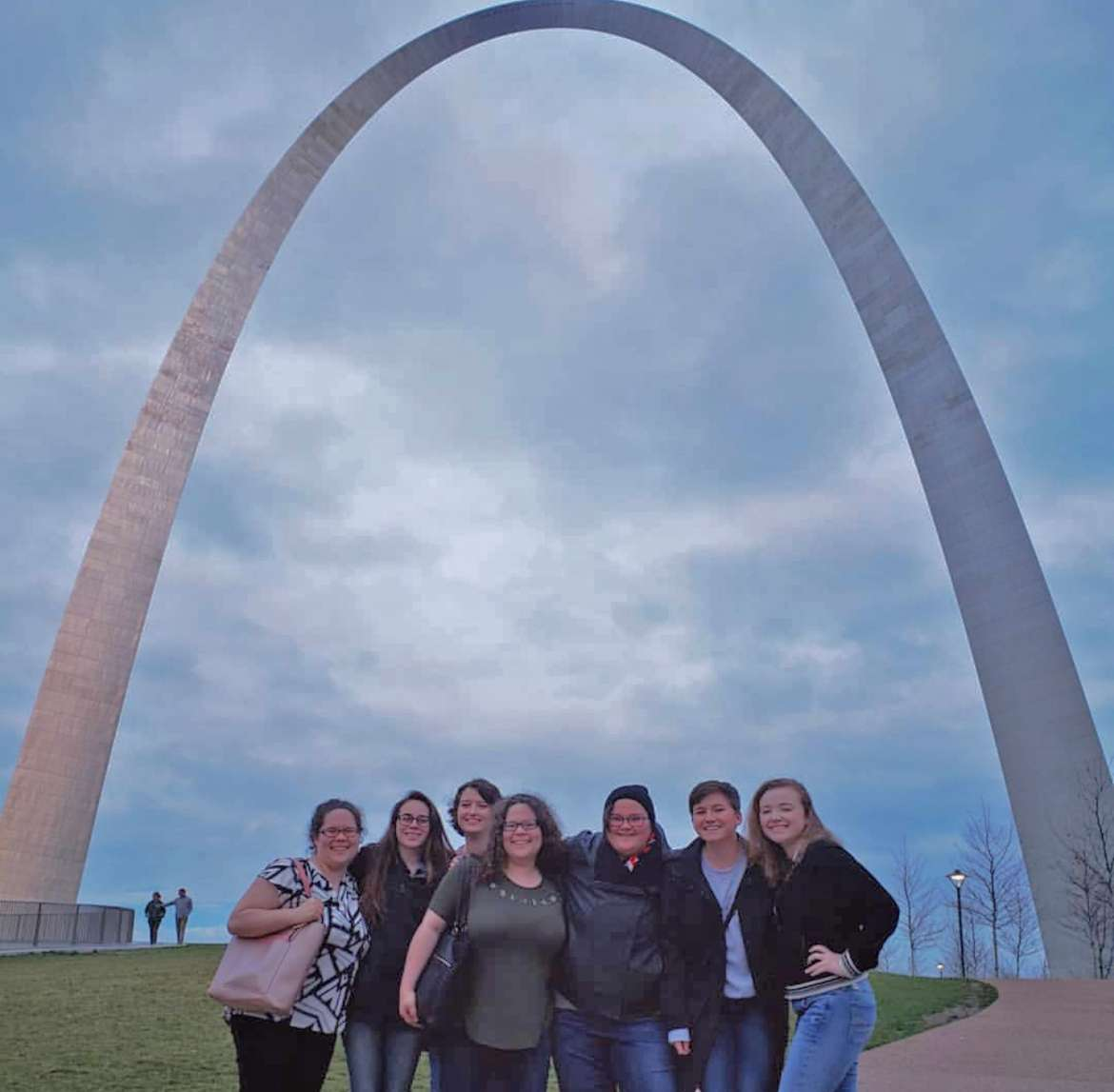 Pictured at the St. Louis Gateway Arch are (l. to r.) Alexandra McCarron, Charles Town; Lilli Sutton, Shepherdstown; Sarah Markle, Keyser; Claudia McCarron, Charles Town; Gabrielle Hersey, Delray; Kylie Krummel Byers, alumna; and Katharine Hardy, Shenandoah Junction.