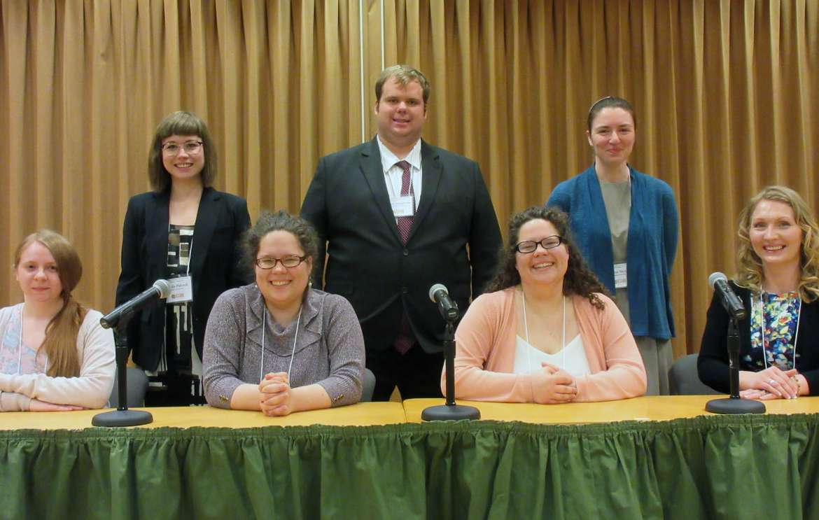 Presenters from Shepherd pictured are (front row, l. to r.) Bethany Kaetzel, Hedgesville; Alex McCarron, Charles Town; Claudia McCarron, Charles Town; and Staci Knisley,Keymar, Maryland, back row, Elisha Pidcock, Shepherdstown, Matthew Bolingbroke, Jefferson, Maryland; and Linnea Meyer, Harpers Ferry. Not pictured is Madison Kerston, Martinsburg.