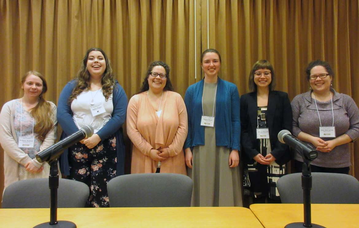 Winners at the 27th Annual West Virginia Undergraduate Literary Symposium are (l. to r.) Bethany Kaetzel, Shepherd, first prize, Outstanding Presentation; Bailee Dugan, West Liberty University, tied for second, Outstanding Presentation; Claudia McCarron, Shepherd, first prize, Outstanding Written Essay; Linnea Meyer, Shepherd, tied for second, Outstanding Presentation; Elisha Pidcock, Shepherd, second prize, Outstanding Written Essay; and Alex McCarron, Shepherd, third prize, Outstanding Written Essay.
