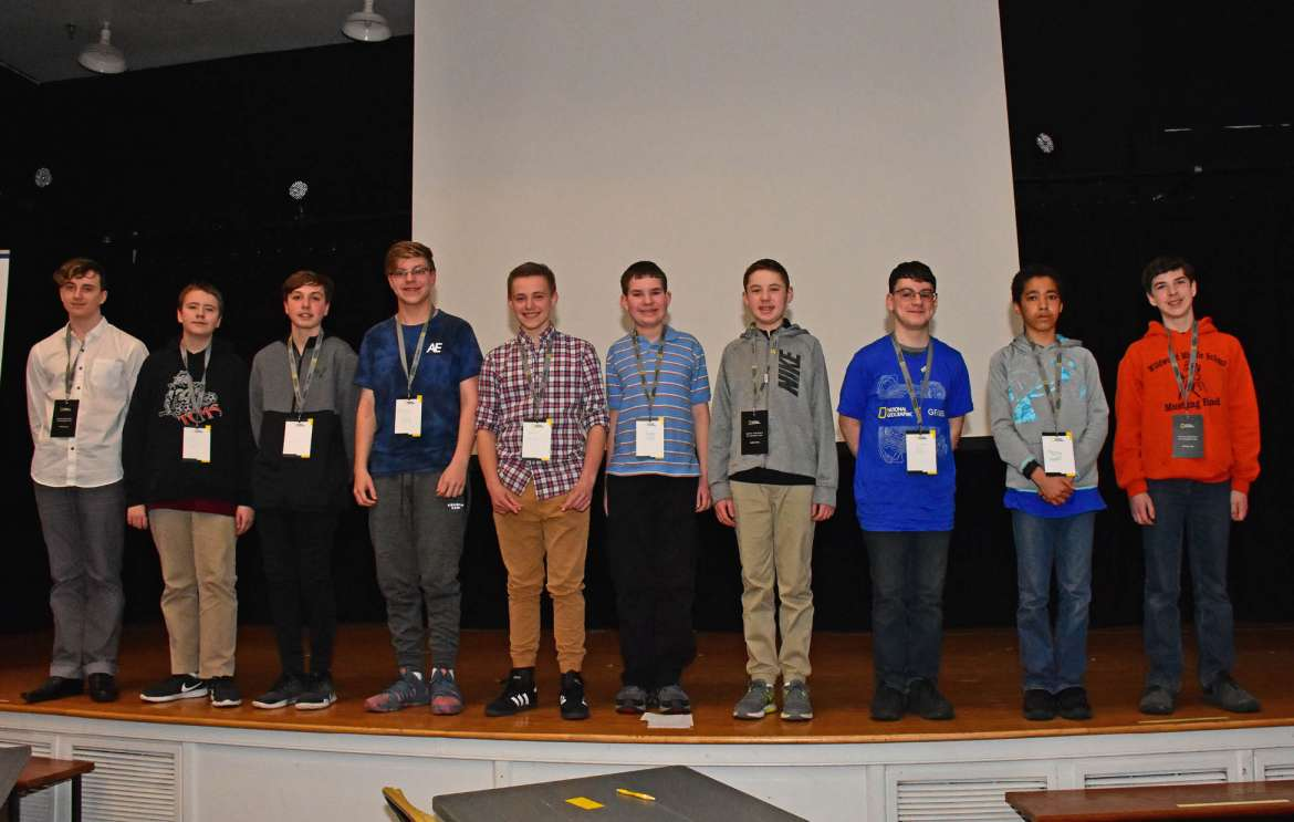 The 10 finalists who competed in the GeoBee are (l. to r.) Frank Day, St. Joseph Grade School, Huntington; Alex Himes, Taylor County Middle School; Mitchell Proper, Winfield Middle School; Trayven Neely, Princeton Middle School; Dave Lemon, West Fairmont Middle School; Andrew Overly, second runner-up, Shephedstown Middle School; Grant Kenamond, first runner-up, Triadelphia Middle School; Quinn Brown, Bluefield Middle School; Moses Warui, St. Joseph School, Martinsburg; Joss Poteet, state champion, Wildwood Middle School.