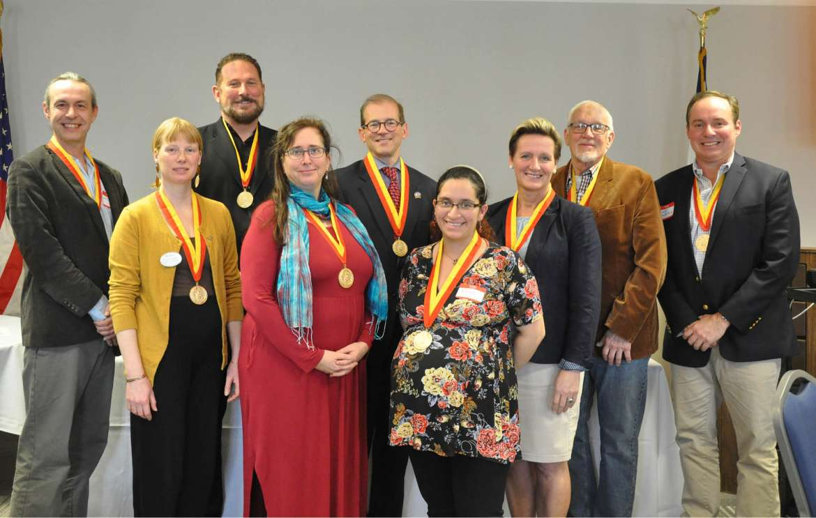 Pictured (front row, l. to r.) are Eva Olsson, Rachel Krantz, Rosa Raez Garcia, and Dr. Ann Wendle, back row, Dr. David Hixson, chapter president Dr. Denis Berenschot, Dr. Scott Beard, Dow Benedict, and Sean Murtagh.