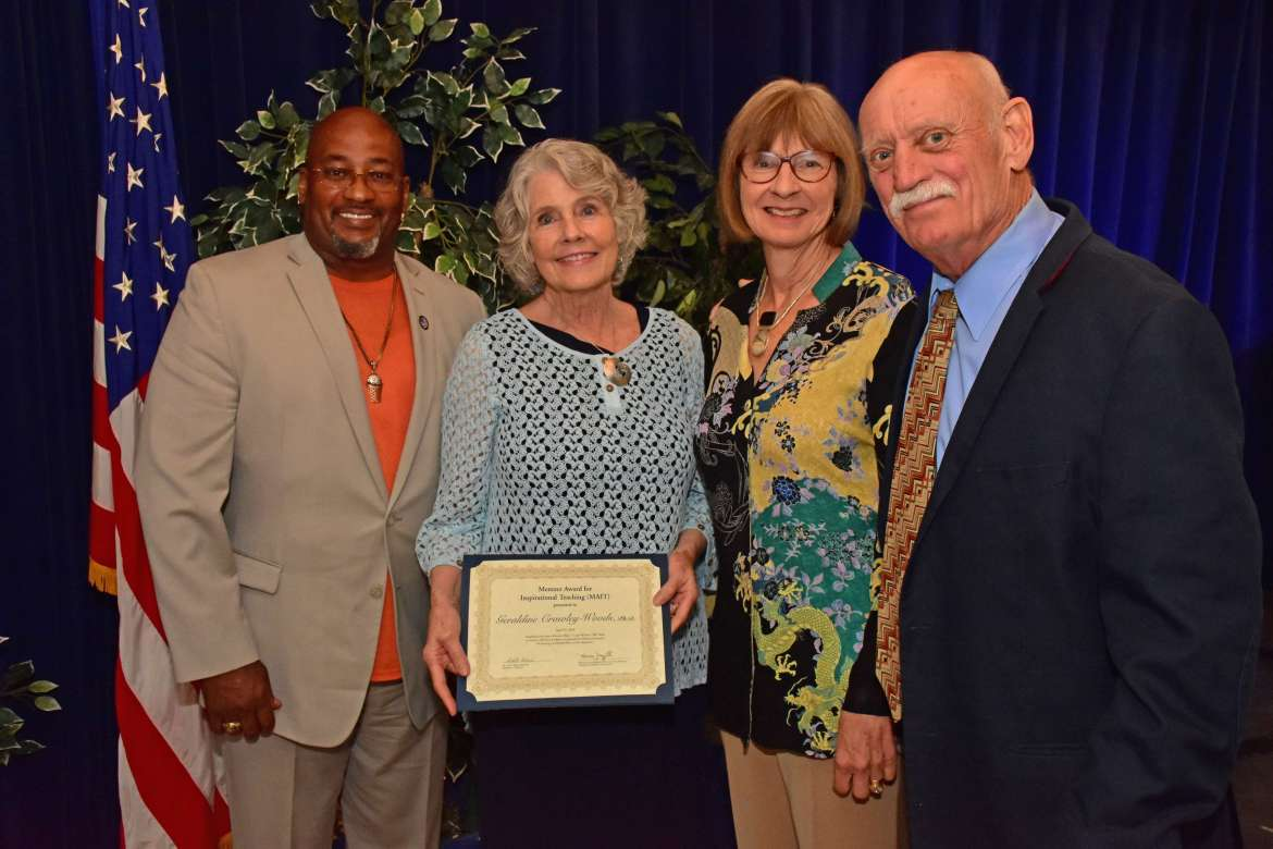 Pictured (l. to r.) are Osmund Anderson, a social work major from Charles Town; Dr. Geri Crawley-Woods, professor of social work and recipient of the Mentzer Award for Inspirational Teaching; Susan Mentzer-Blair; and Bill Blair.
