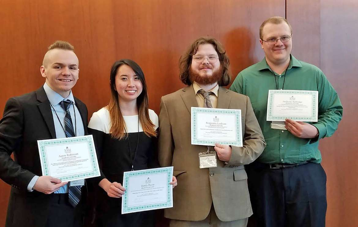 Shepherd students who received awards at the West Virginia Academy of Science annual meeting are (l. to r.)  Aaron Robinson, Martinsburg; Emily Foote, Shenandoah Junction; Benjamin Lanham, Martinsburg; and Anthony Ratledge, Grand Haven, Michigan.