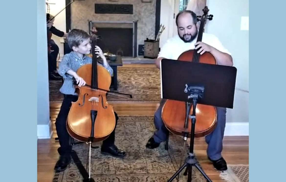 Cellist Leo Clark and his teacher, Camilo Perez-Mejiaat, perform at an October 2018 fundraiser held at the home of Judy Rand and Rebecca Grace Jones in support of the Judy Rand and Friends Scholarship Fund.