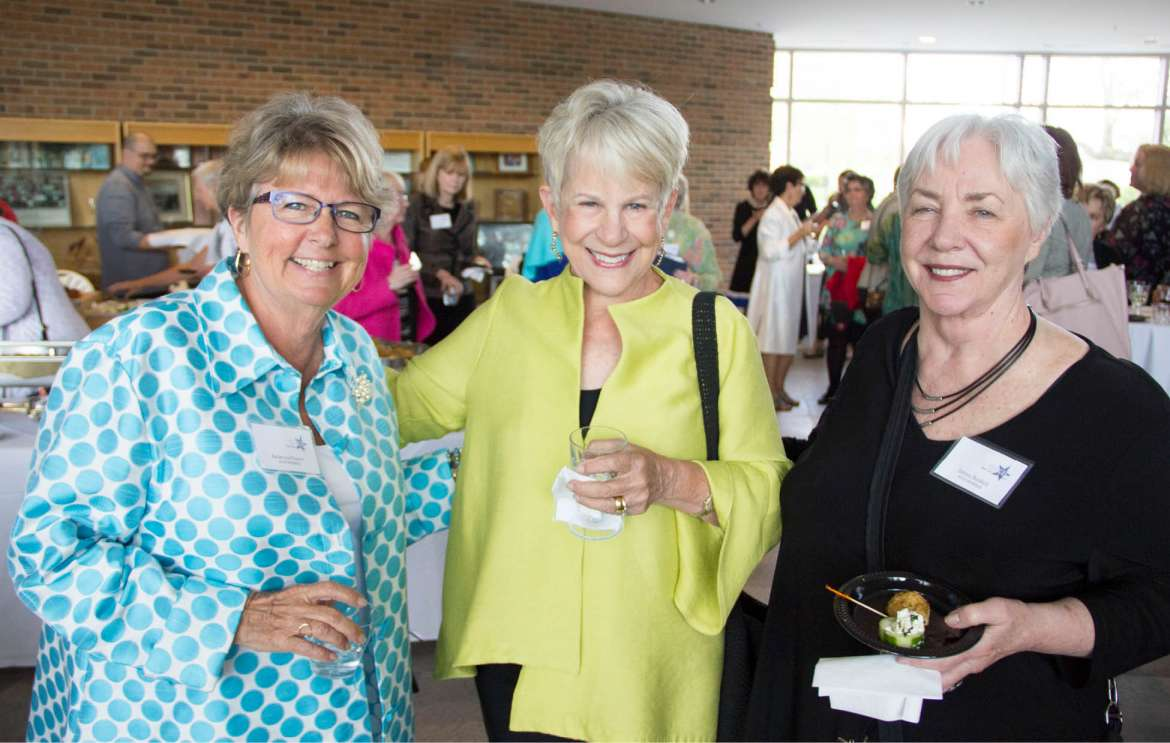 Founding member and keynote speaker Rebecca Powers (l.) enjoys the WISH reception with founding member Anne Small (c.) and grant committee member Zelma Buskell.   Photo Credit: Nylah Bannister