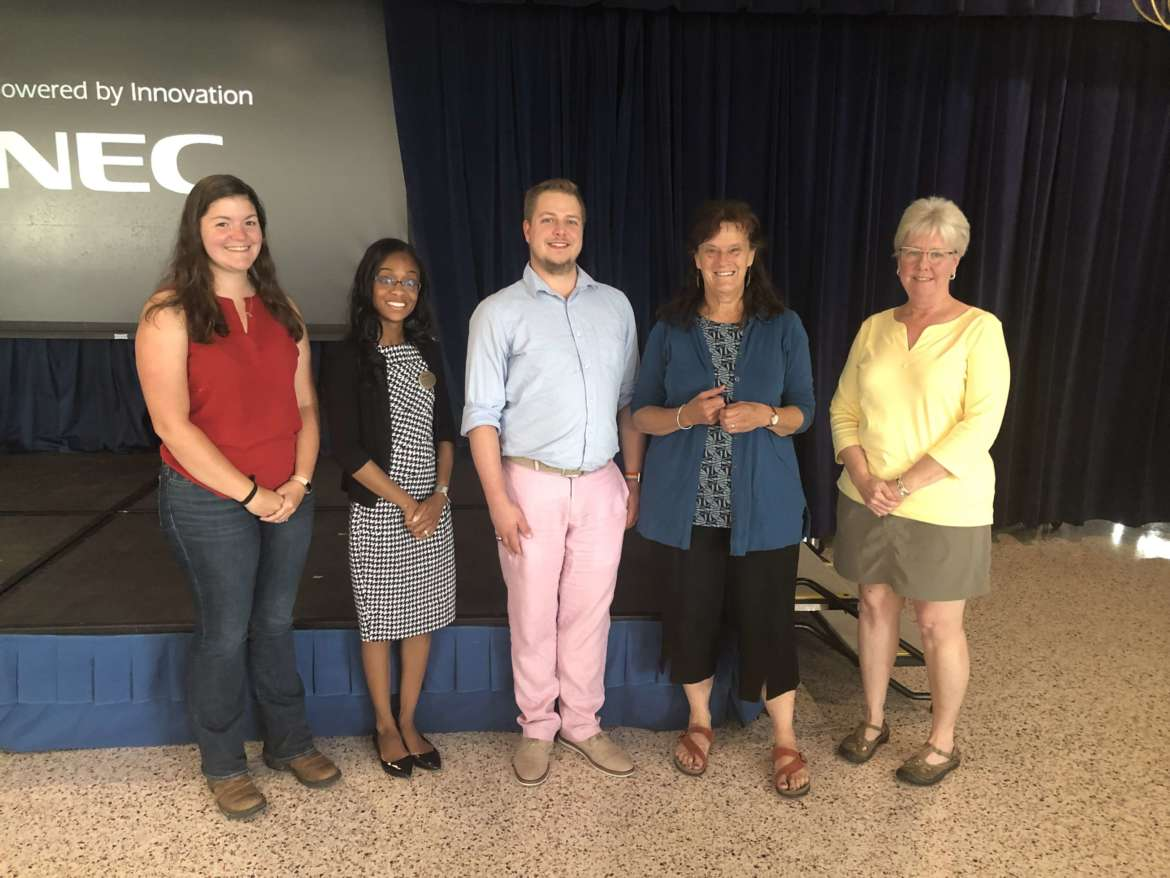 Participants in the Farm to School Institute held at Shepherd University are (l. to r.) Emily Morrow, agriculture and natural resources agent with the WVU Extension Service; Dr. Arnetta Fletcher, visiting assistant professor of family and consumer sciences at Shepherd University; James Swart, education program manager, Grocery Manufacturers Association Science and Education Foundation; Delia Clark, place-based education researcher, Shelburne Farms and VTFEED; and Rita Hennessy, board member of the Jefferson Growers, Artisans, and Producers Coalition.