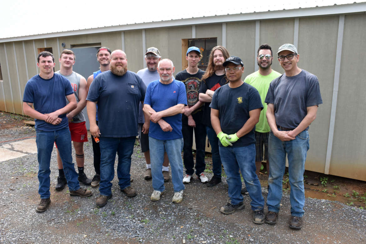 Pictured, front row (l. to r.) are Jason Mullens, Hampshire County; Rob Bladen, Falling Waters; John Godish, James Rumsey instructor; Maurice Martin, Martinsburg; and Dr. Peter Vila, director of the Veterans to Agriculture program at Tabler Farm. Back row, Karson Robinette, Cumberland, Maryland; Hunter Kasekamp, Paw Paw; Jim Pulz, Martinsburg; Nick Crosbie, Martinsburg; Matthew Carr, Berkeley Springs; and Jesse Dustin, Charles Town.