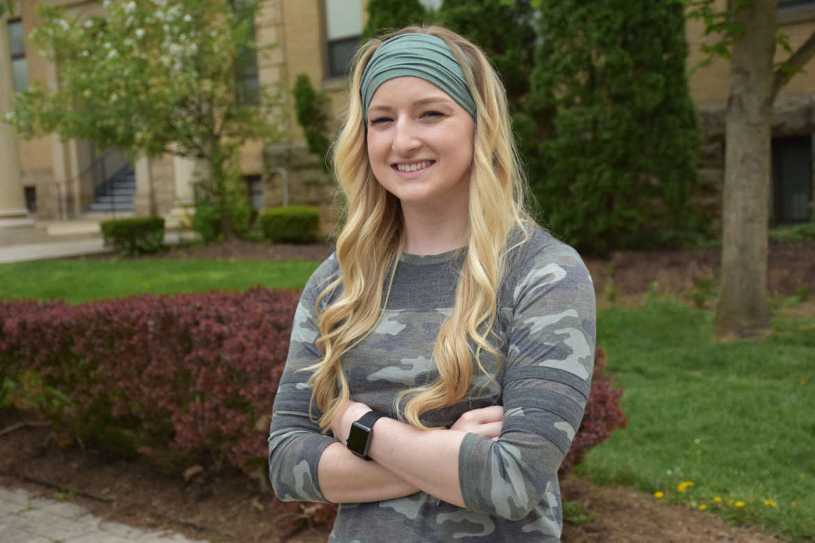 Tiffany Warnick, a junior business major from Accident, Maryland, is the first recipient of the Dale and Rozelle Leatherman Memorial Scholarship.
