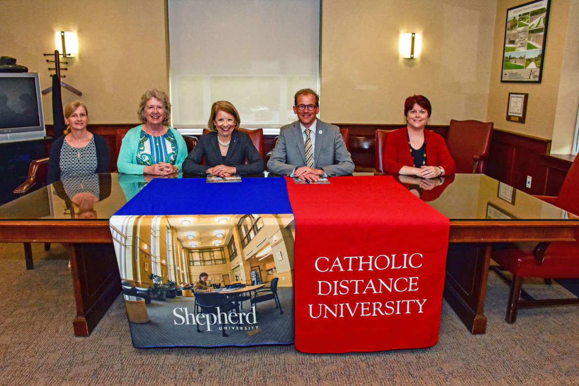 Pictured (l. to r.) are Mary Kate White, Catholic Distance director of communication; Dr. Virginia Hicks, Shepherd assistant provost for academic community outreach; Dr. Marianne Evans Mount, Catholic Distance president; Dr. Scott Beard, Shepherd provost; and Beth Thomas, Shepherd Regents Bachelor of Arts coordinator.