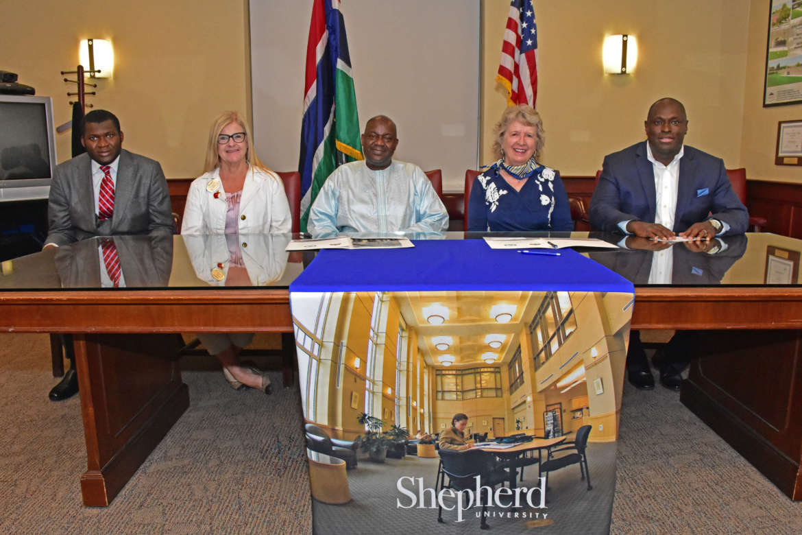 Pictured (l. to r.) are Pa Sako Darboe, first secretary, Embassy of The Gambia to the United States of America; Dr. Lois Jarman, Shepherd director of international affairs; H.E. Dawda Fadera, The Gambia ambassador to the United States; Dr. Virginia Hicks, Shepherd assistant provost, academic community outreach; and Siriki Diabate, Shepherd international recruiter and admissions officer.