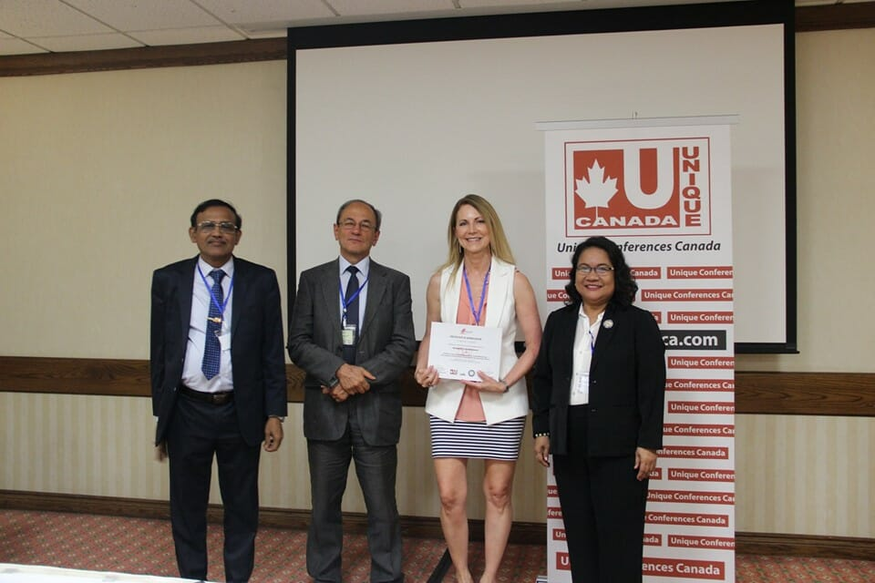Pictured (l. to r.) are Dr. Prabhath Patabendi, University of Toronto and convener of the Edu Teach Conference Programme; Dr. Bruno Dallago, University of Trento, Italy, keynote speaker; Dr. Jennifer L. Penland, Shepherd University, session chair and presenter; and Dr. Cristeta Dulos, Pangasinan State University, Philippines, conference academic chair.