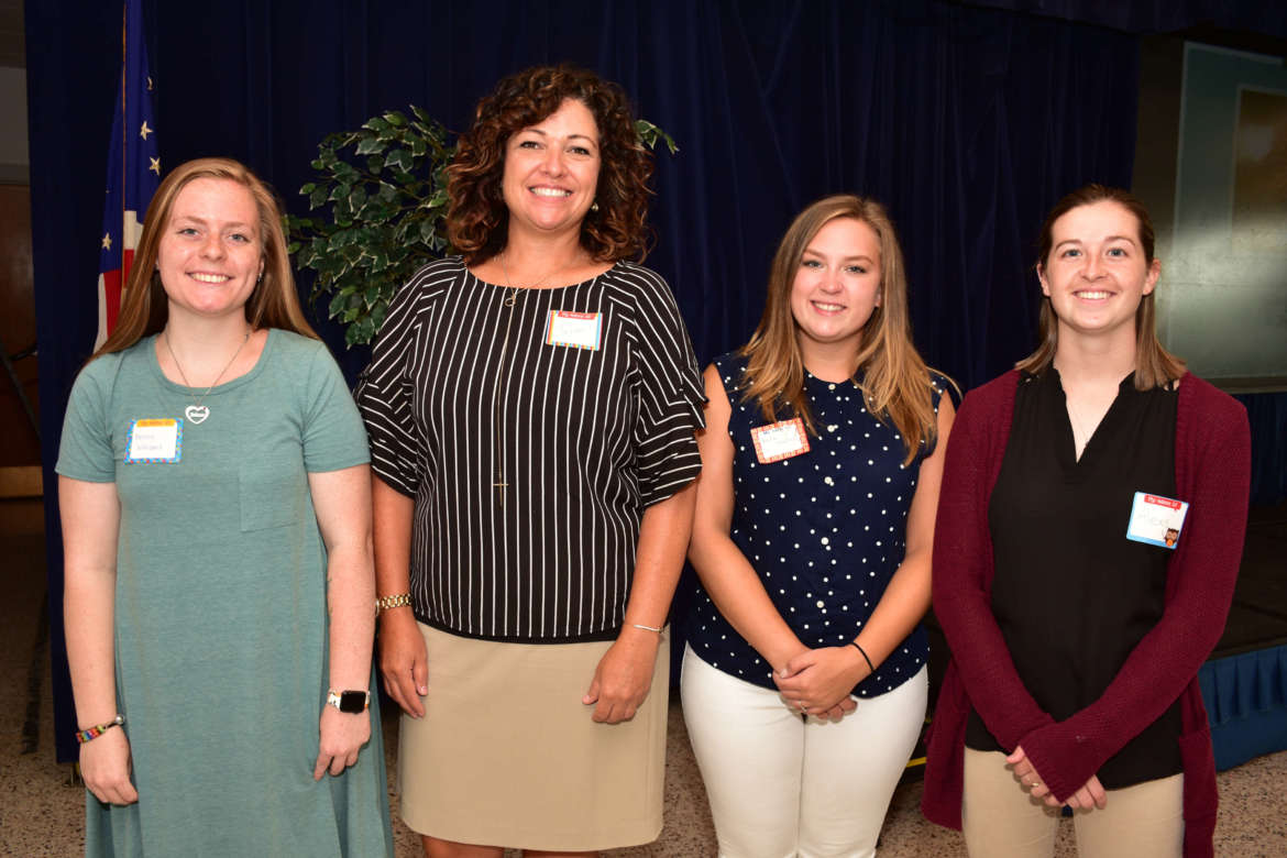 Pictured (l. to r.) are elementary education majors Kristin Williams, Charles Town; Susan Stambaugh, Martinsburg; Kayla Shultz, Falling Waters; and Alexis Shearer, Chambersburg, Pennsylvania.