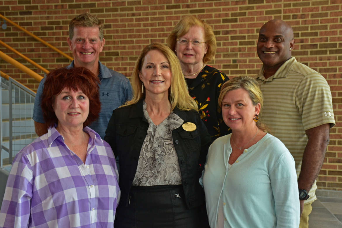 Pictured (front row, l. to r.) are Dr. Dawne R. Burke, professor of education; Dr. Jennifer L. Penland, director, School of Education; and Dr. Angela Fetty, assistant professor of nursing education; back row, Dr. Desmond Lawless, associate professor of health and physical education; Dr. Sharon Mailey, dean, College of Nursing, Education, and Health Sciences; and Dr. Andro Barnett professor in recreation and leisure studies and M.B.A. sport management coordinator.