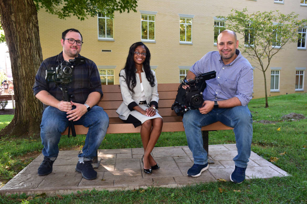 Pictured (l. to r.) are Andrew Gibbs, New Slate Films camera operator; Dr. Arnetta Fletcher, Shepherd assistant professor of family and consumer sciences; and Saj Adibs, New Slate Films director.