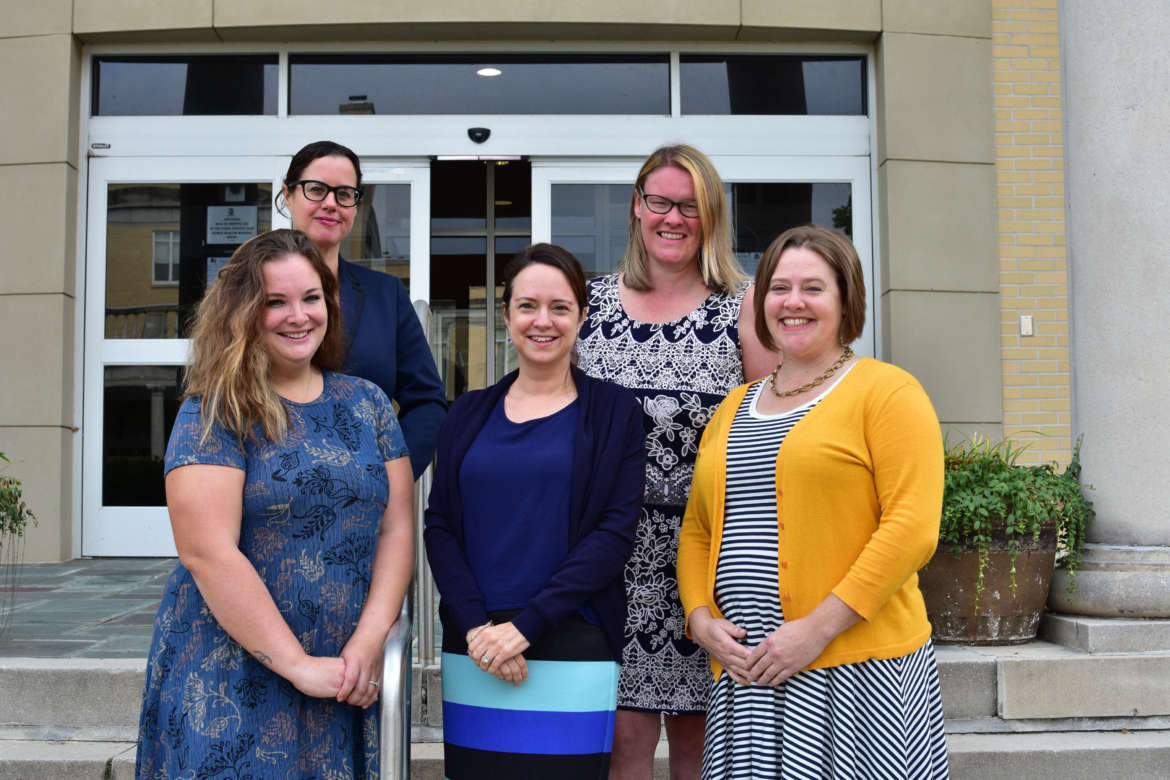 Pictured (front row, l. to r.) are Melissa Markey, career advisor; Dr. Laura Renninger, dean, Ruth Scarborough Library and Center for Teaching, Learning, and Instructional Resources; and Emily Gross, director of academic support, back row, Shannon Holliday, coordinator for students in transition and First Year Experience director; and Christina Reich, academic advisor.
