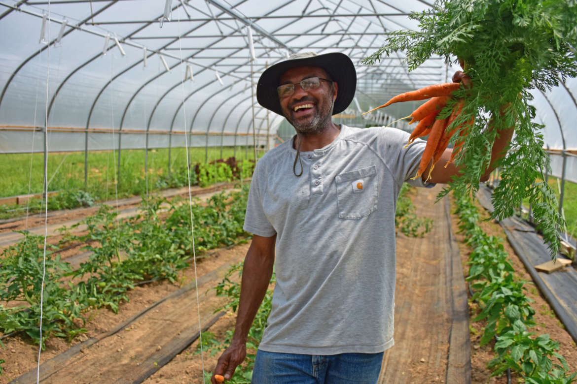 Farm Manager Haroun Halleck holds some carrots that were grown at the Agricultural Innovation Center.