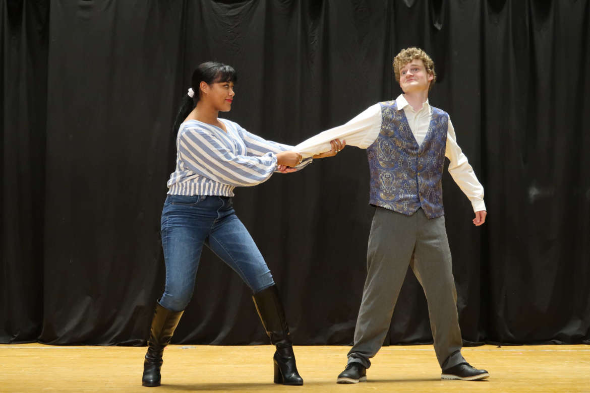 """Diamond Ross (l.), Kearneysville, and William Prudnick, Beckley, rehearse a scene in """"A Midsummers Night's Dream."""""""