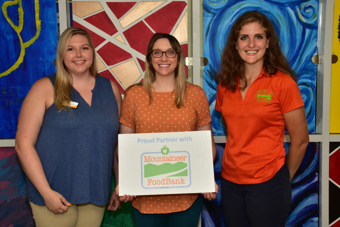 Pictured (l. to r.) are Courtney Putnam, Mountaineer Food Bank agency relations coordinator; Dr. Jennifer Flora, Shepherd Wellness Center director; and Laura Phillips, Mountaineer Food Bank director of programs.