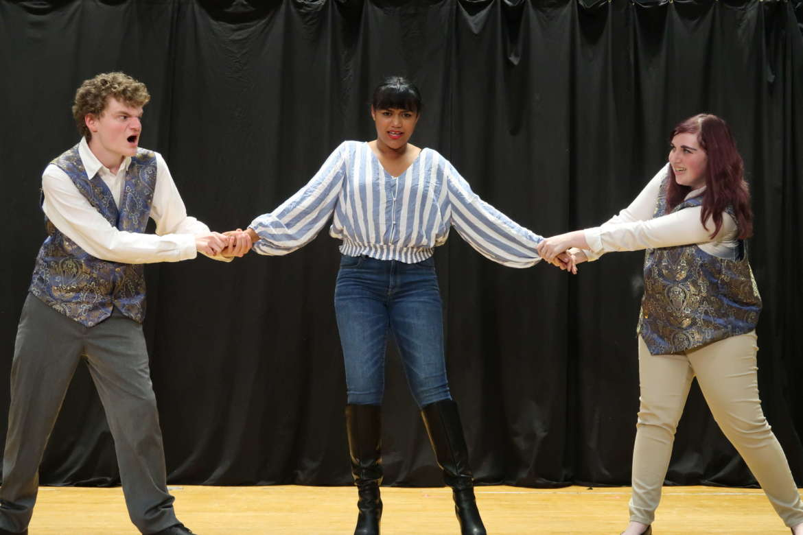 """Pictured rehearsing """"A Midsummer Night's Dream"""" are (l. to r.)  William Prudnick, an undecided major from Beckley; Diamond Ross, a nursing major from Kearneysville; and Lauren Harvey, an English education major from Shepherdstown."""