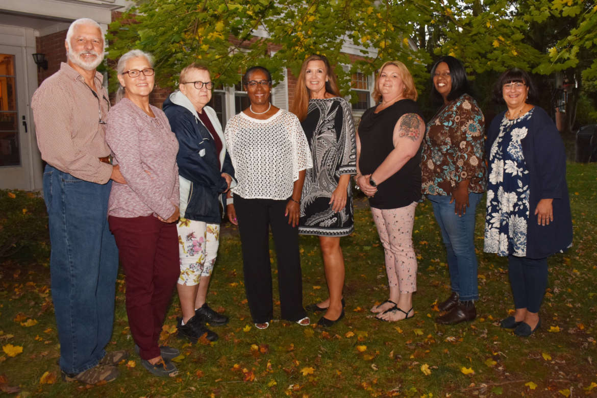 Pictured (l. to r.) are John Yost and Geneva Yost, Dinner with Strangers hosts; Theresa Barb, Shepherdstown; Virgie Moore, Charles Town; Donna Miller, Falling Waters; Dana Burcker-Britto, Martinsburg; Mary Brown, Kearneysville; and Lisa Sorrentino-Miller, Bunker Hill.