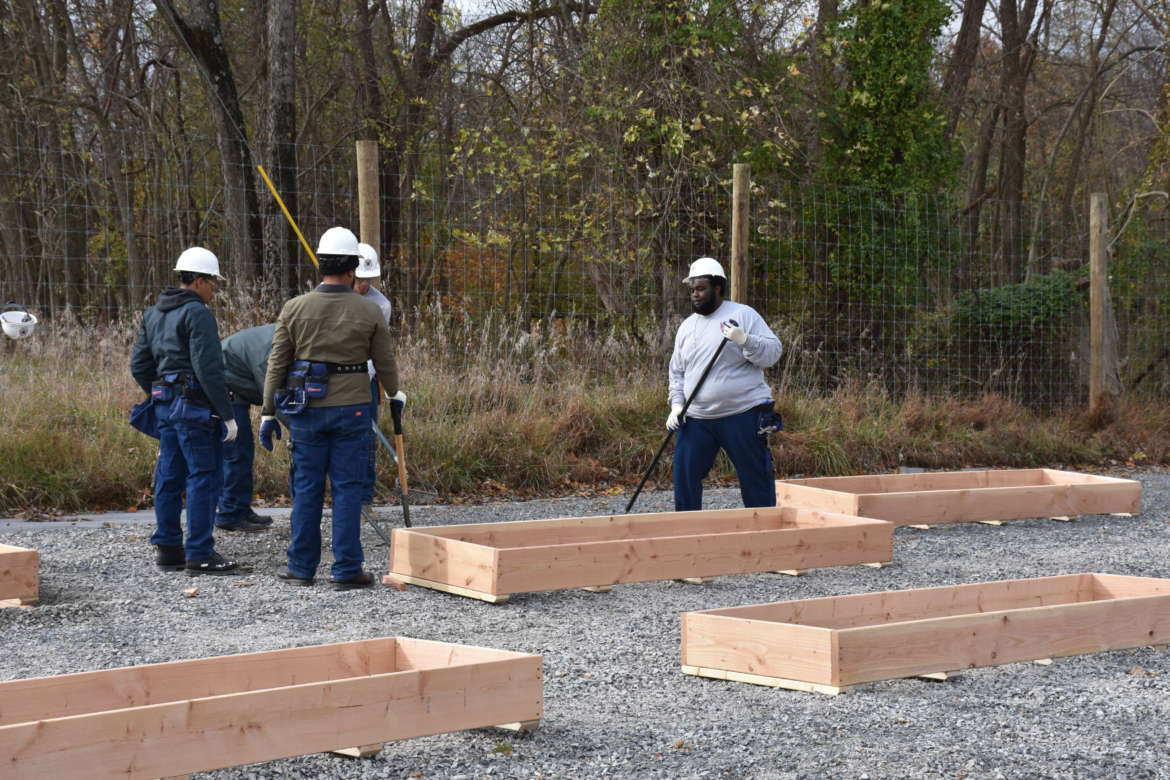 Students from Harpers Ferry Job Corps install raised garden beds at Shepherd University's Tabler Farm: Agricultural Innovation Center.
