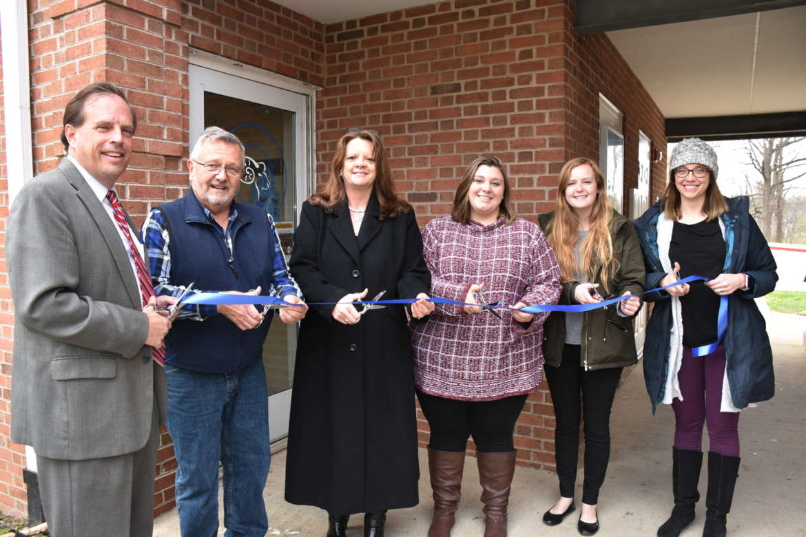 Pictured (l. to r.) are Jack Shaw, vice president for campus services; Don Rohel, retired Student Center director and Ram Pantry volunteer; Holly Morgan Frye, assistant vice president for student success; Hannah Brumbaugh, graduate assistant for community service; Angel Petty, graduate hall director and Ram Pantry manager; and Dr. Jennifer Flora, Wellness Center director.