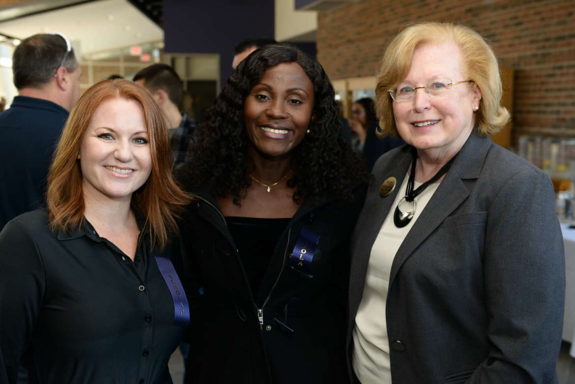 Katherine Koller (l.) and Onine Adja Kaaga (c.), both nursing scholarship recipients, pose with Dr. Sharon Mailey, dean of the College of Nursing, Education, and Health Sciences. (Sam Levitan Photography)