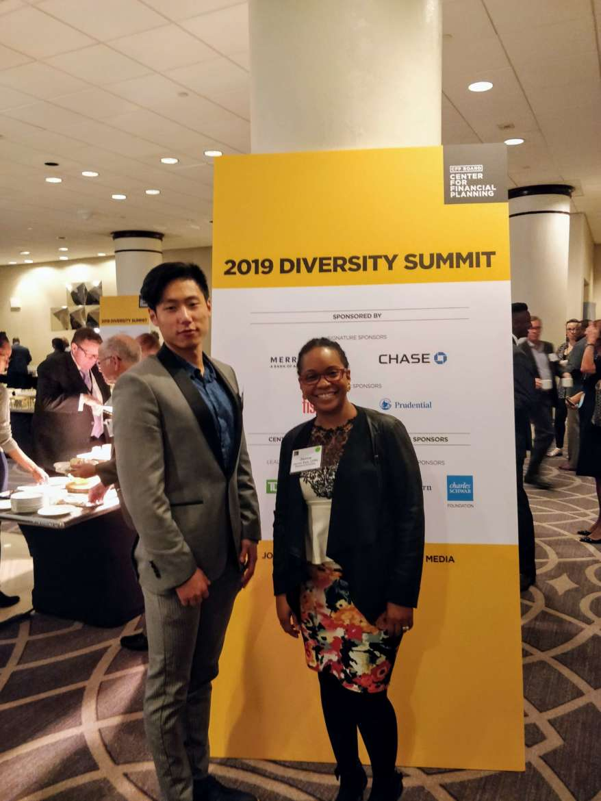 Pictured (l. to r.) are Honghui Pang, a business administration major from Frederick, Maryland, and Dr. Janine Sam, assistant professor of business administration.