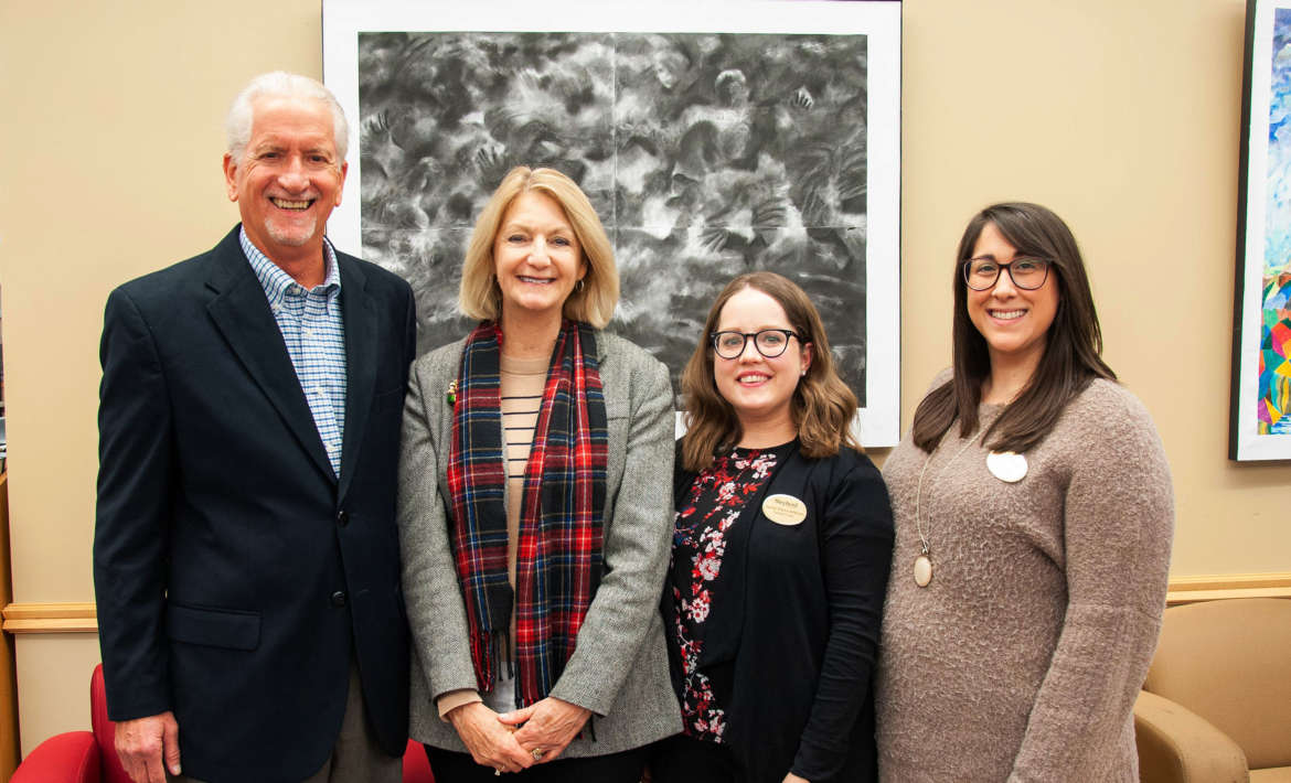 Pictured (l. to r.) are Jim Norton, a member of the Carlson Family Foundation board of directors; Monica Lingenfelter, executive vice president, Shepherd University Foundation; Hannah Williams-McNamee, success coach; and Julia Franks, director of student success and orientation programs.