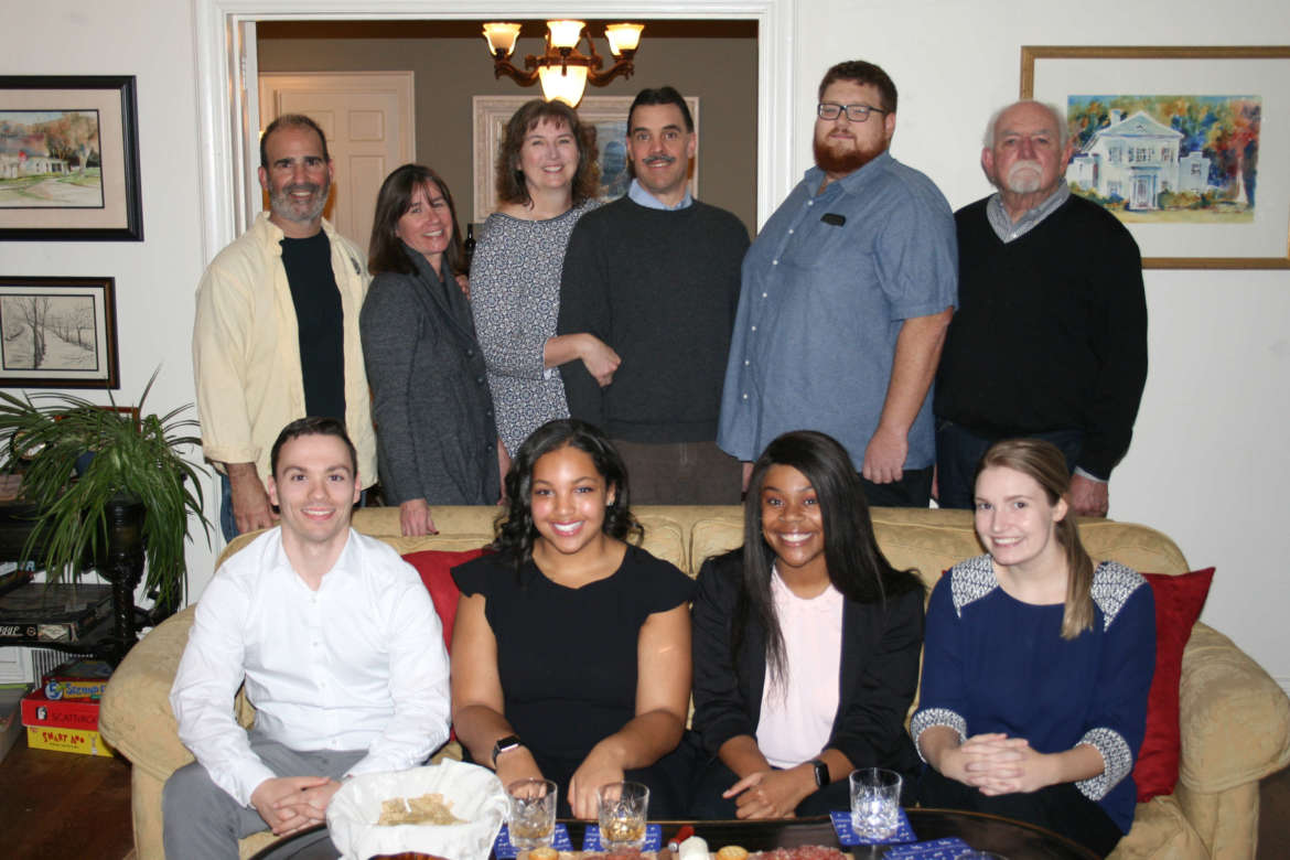 Pictured (seated, l. to r.) are students Joseph Pike, Quincy Oram, Kaileigh Wallace, and Aaliyah Getts, standing, Aaron Amores, Ann Poanessa, Kristin Bottner, Kirk Bottner, Patrick Kratovil, and Jim Kratovil.