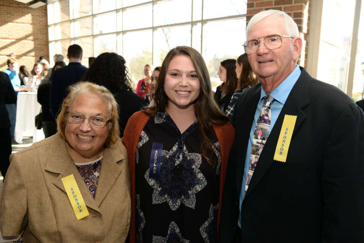 Judy Armstrong (l.) and Paul Armstrong (r.) met Jade DiNello at the 2019 President's Reception for Donors and Scholars held on November 3, 2019, at Erma Ora Byrd Hall at Shepherd University. DiNello is the inaugural recipient of the newly-created Paul V. Armstrong and Judy Harris Armstrong Education Scholarship. Photo by Sam Levitan.