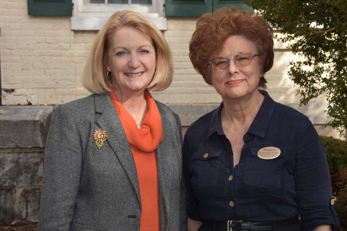 Pictured (l. to r.) are Monica Lingenfelter, executive vice president, Shepherd University Foundation, and Dr. Sylvia Bailey Shurbutt, director, Shepherd University Center for Appalachian Studies and Communities.