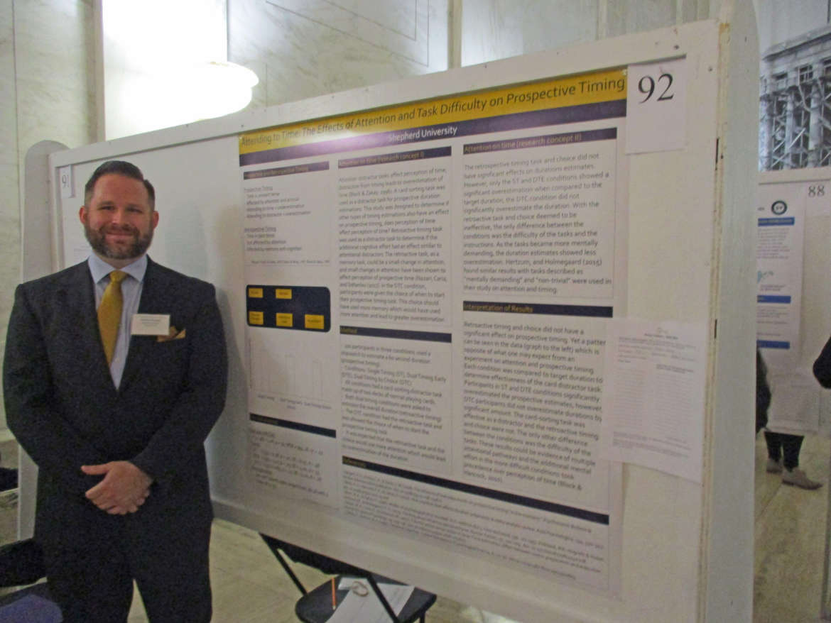 "James Joyner, psychology major, Frederick, Maryland, presented his research titled ""Attending to Time: The Effects of Attention and Task Difficulty on Prospective Timing."""