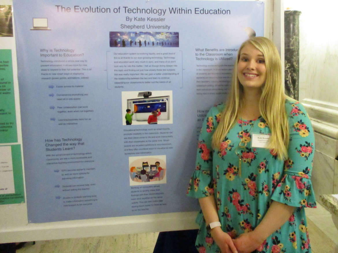 "Kate Kessler, education major, Winchester, Virginia, presented her research ""The Evolution of Technology Within Education."""