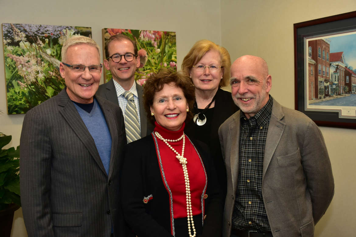 Pictured (front row, l.-r.) are Dr. Robert Bowen, Martinsburg physician; Dr. Mary J.C. Hendrix, Shepherd president; and Dr. Donald E. Pathoff, Jr., Martinsburg dentist; back row, Dr. Scott Beard, Shepherd provost; and Dr. Sharon Mailey, dean of the College of Nursing, Education, and Health Sciences, and director, School of Nursing.