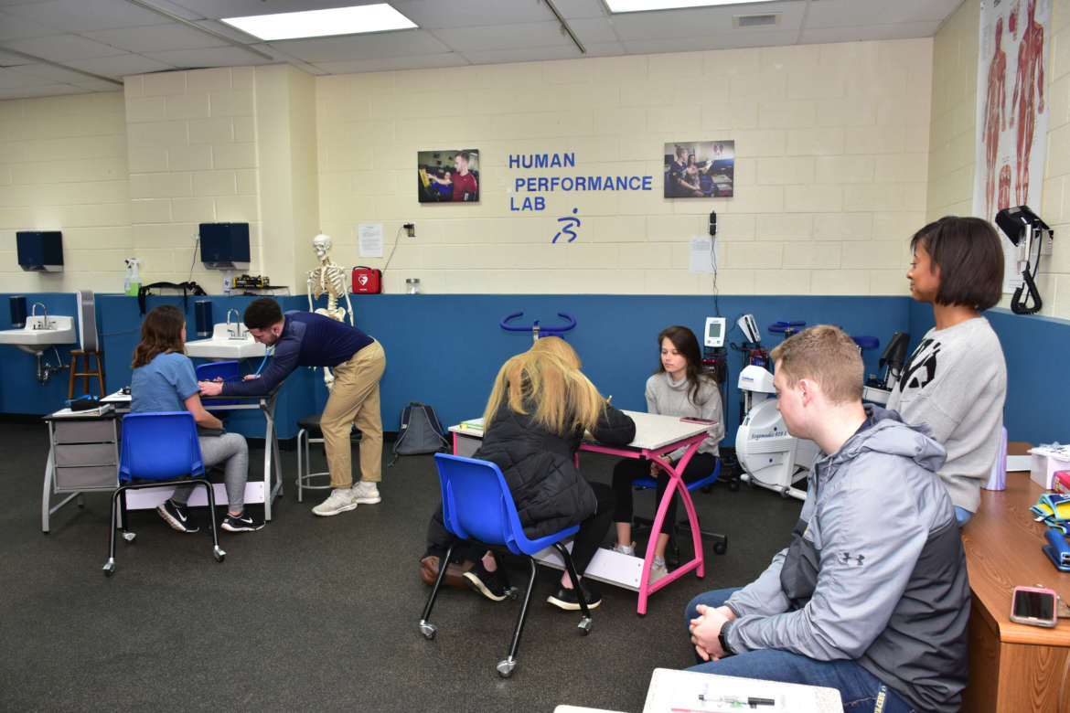 Students gain experience conducting fitness assessments in the Human Performance Lab, which was recently renovated with a $30,750 grant from the Shepherd University Foundation's WISH (Women Investing in Shepherd) group.