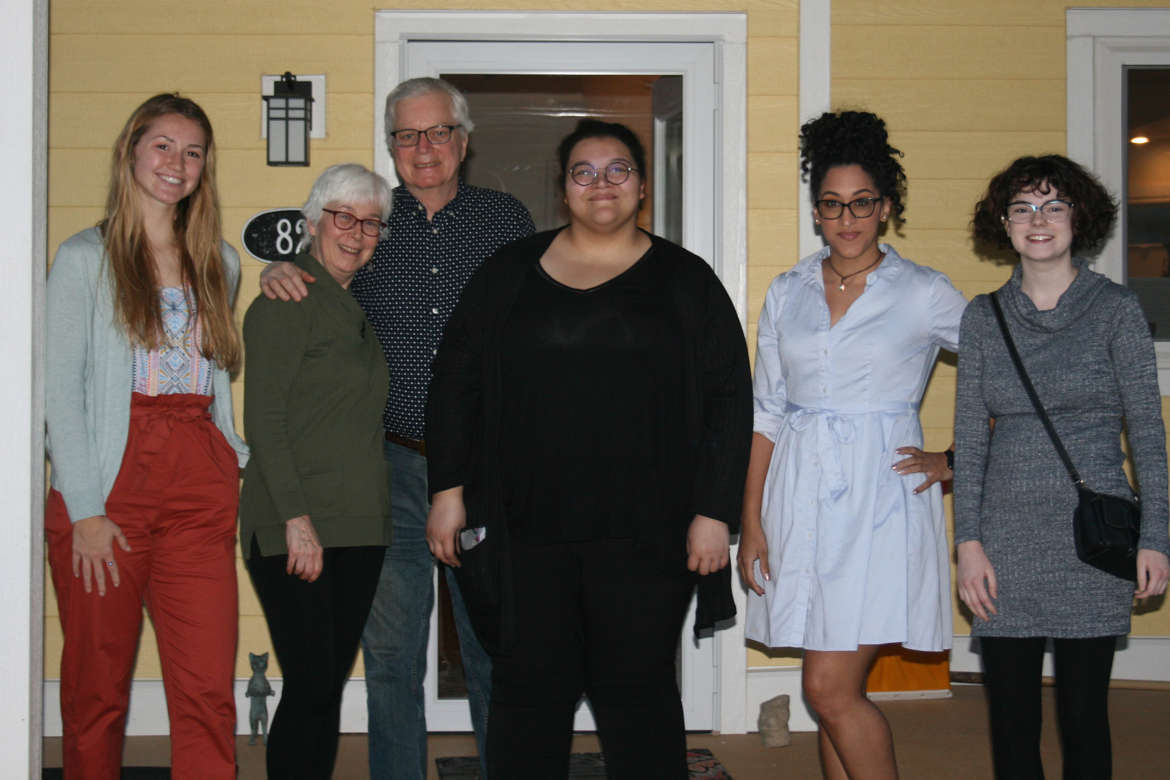 "Pictured (l. to. r.) are Madeline McClellan, Harpers Ferry; Mary Watters, host; Andy Ridenour, host; Shaunna Redman and Dominique ""Niqe"" Mosey, both of Martinsburg; and Amanda Barber, Charleston."