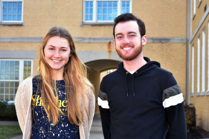 Pictured (l. to r.) are Madeline McClellan and Ryan Stickel, both communication and new media majors with journalism minors, are co-editors of The Shepherd University Picket student newspaper.