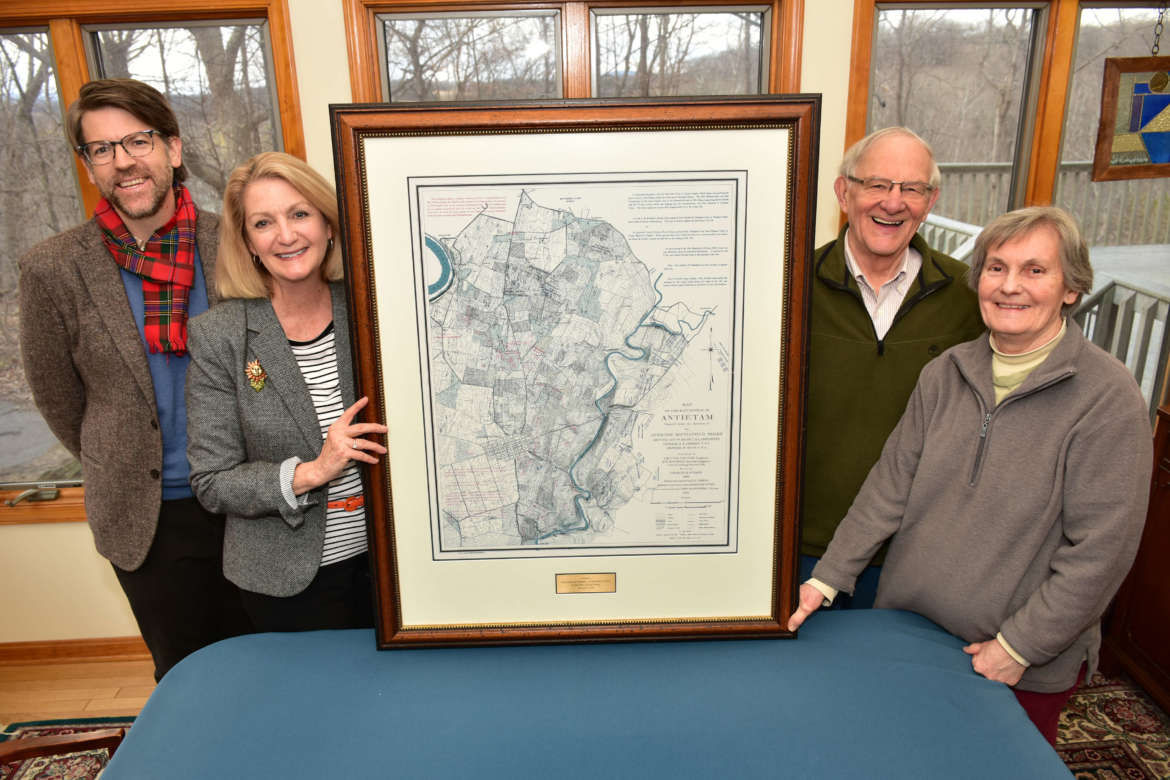Pictured with a framed map donated to the George Tyler Moore Center for the Study of the Civil War are (l. to r.) Dr. James Broomall, director, Civil War center; Monica Lingenfelter, executive vice president, Shepherd University Foundation; and Bill and Bonnie Stubblefield, map donors.