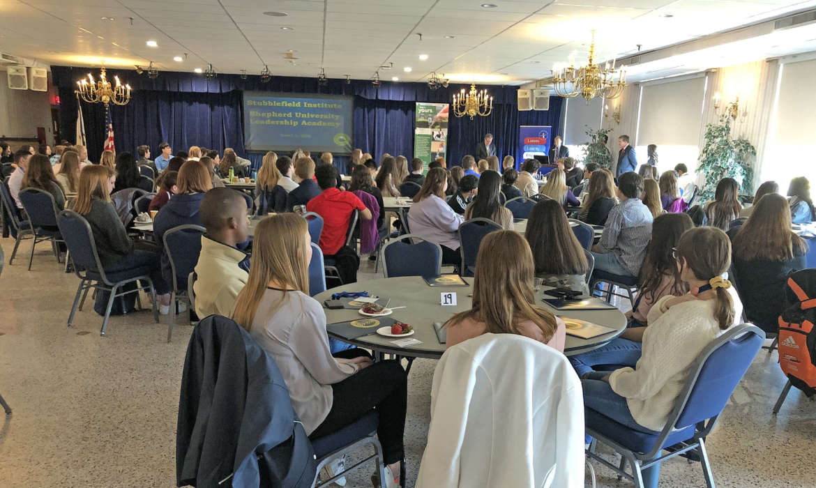 High school students from Berkeley, Jefferson, and Morgan counties in West Virginia, and Frederick County, Maryland, attended the first Stubblefield Institute Shepherd University Student Leadership Academy on March 2.