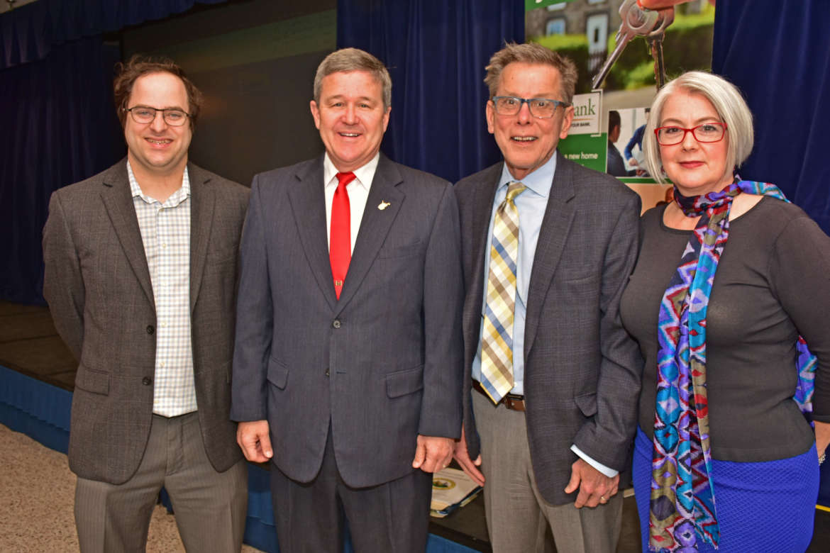 Pictured (l. to. r.) are Dr. Samuel Greene, assistant professor of political science; Mac Warner, West Virginia secretary of state; David Welch, director, Bonnie and Bill Stubblefield Institute for Civil Political Communications; and Dr. Stephanie Slocum-Schaffer, associate professor of political science.