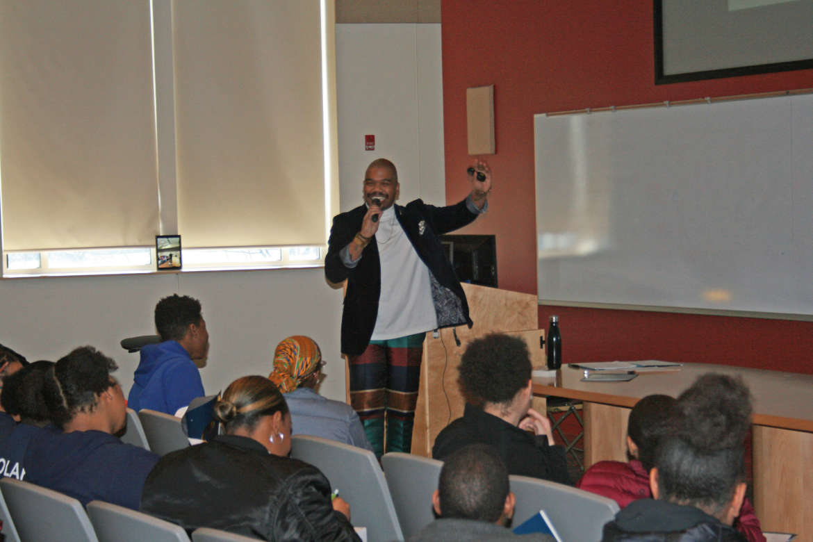 Justin Barker, lead facilitator at Swiftkick, addresses students during the National TRiO Day Celebration at Shepherd.