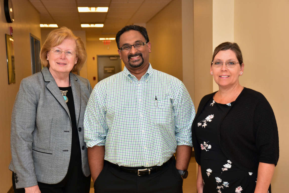 Pictured (l. to r.) are Dr. Sharon Mailey, , dean, College of Nursing, Education, and Health Sciences, and director, School of Nursing; Dr. Praveen Arany, aassistant professor, School of Dental Medicine at the University of Buffalo and president of World Association of Laser Therapy; and Dr. Kelly Watson Huffer, Shepherd associate professor of nursing.