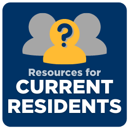 Button to resources for current residential students