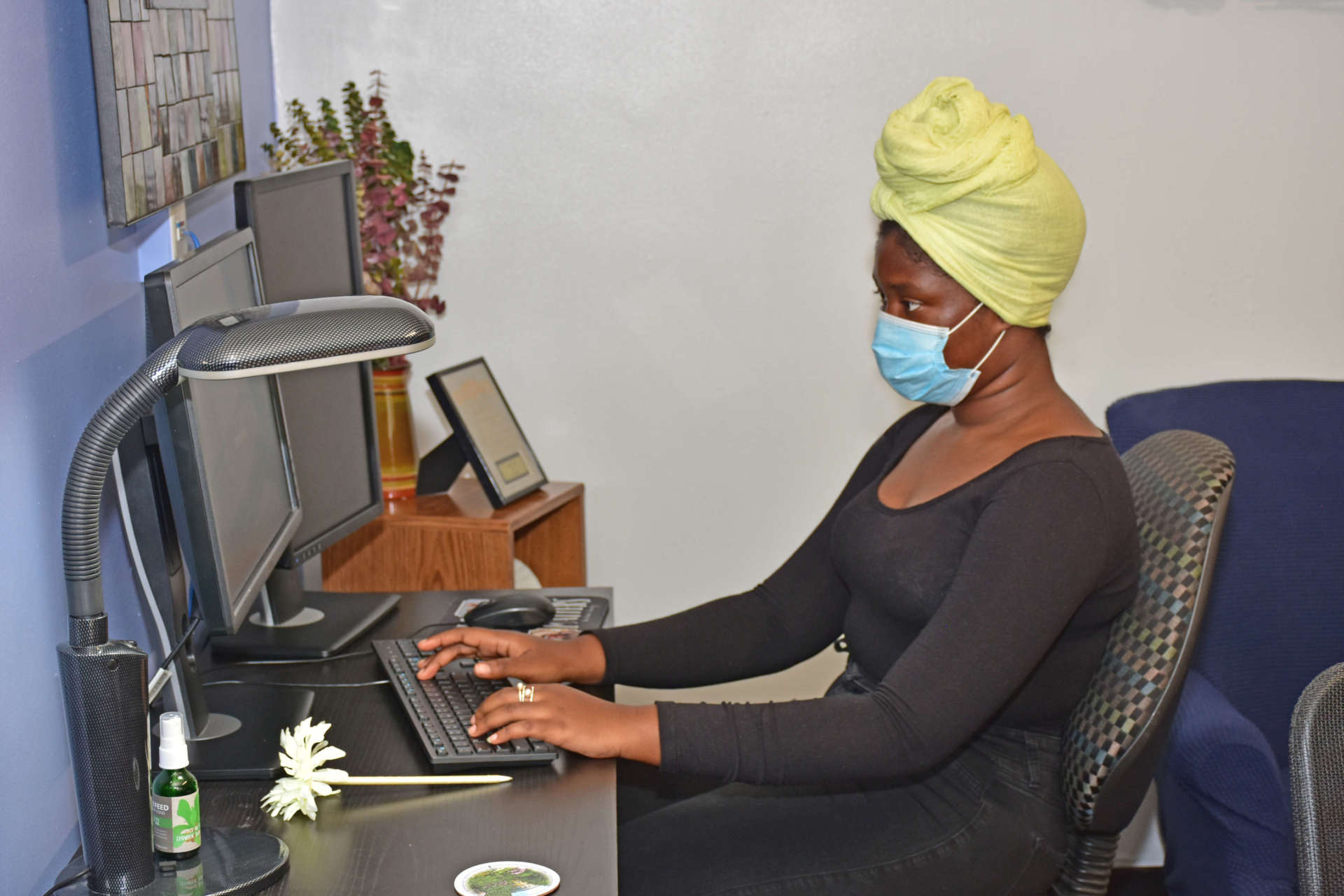 Fatoumatta Conteh, a chemistry major from The Gambia, uses a computer in the Office for Diversity and Equity.