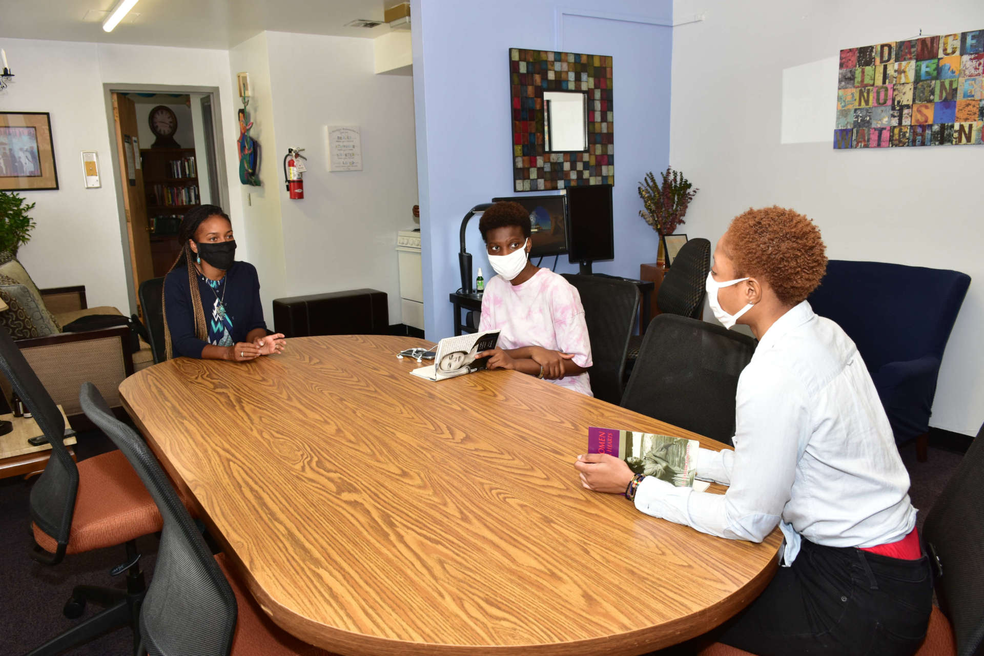Dr. Chiquita Howard-Bostic (left), associate vice president for diversity, equity, and inclusivity, meets with Kady Sanogo (center), a psychology major from Mali, and Larissa Fatou Mendy, a business administration major from Ivory Coast, in the Office for Diversity and Equity.