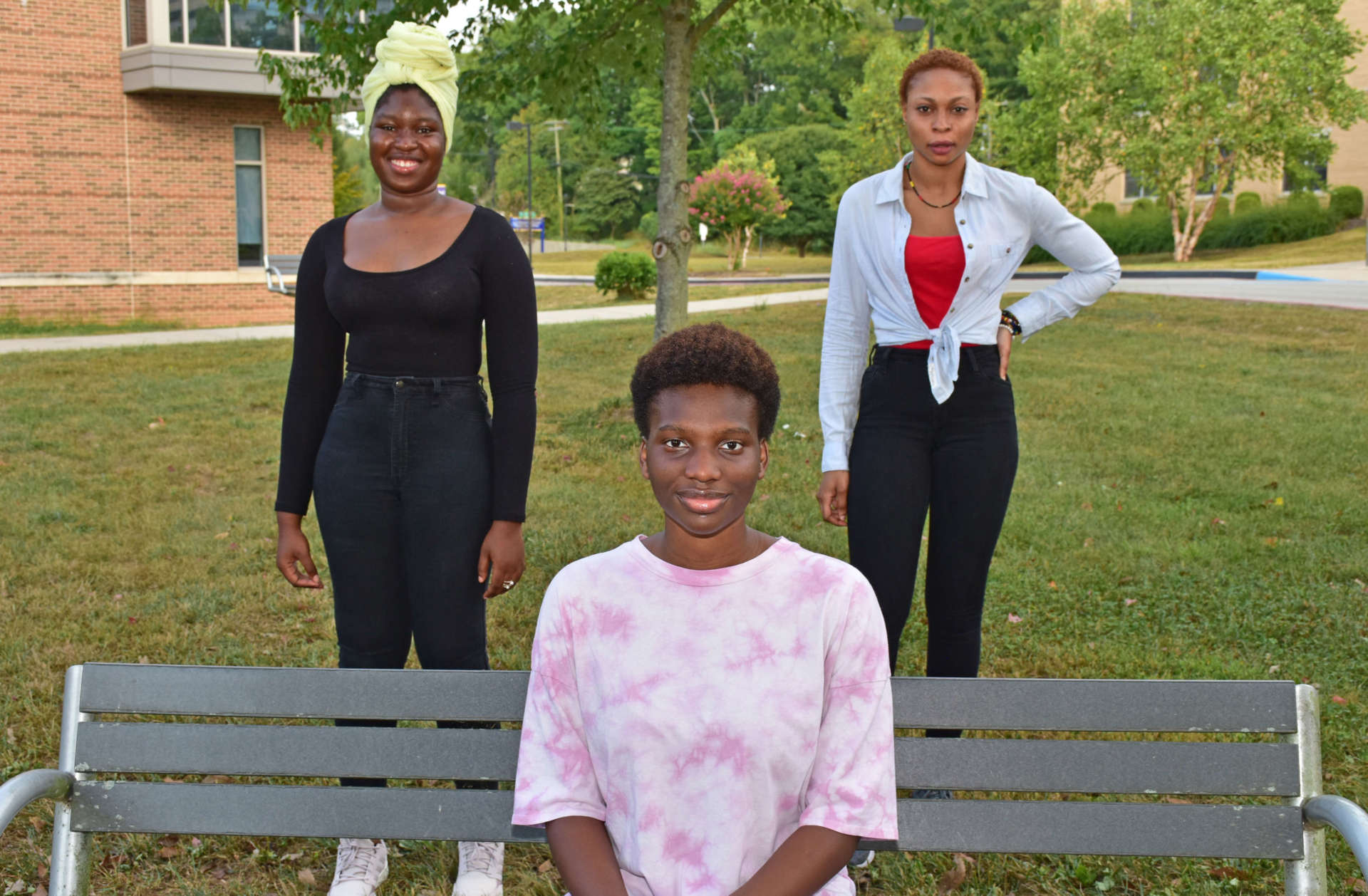 Among the 62 international students attending Shepherd are (seated) Kady Sanogo, psychology major, Mali, (standing, l. to r.) Fatoumatta Conteh, chemistry major, The Gambia, and Larissa Fatou Mendy, business administration major, Ivory Coast.
